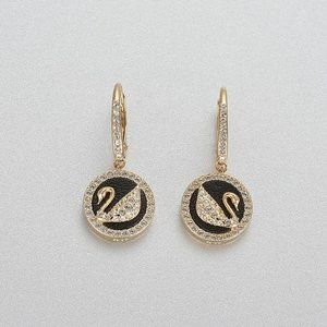 SWAROVSKI LEATHER SWAN Love Swan Earrings